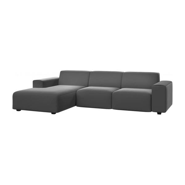 posada 3 sitzer sofa mit chaiselongue links aus samt grau habitat. Black Bedroom Furniture Sets. Home Design Ideas