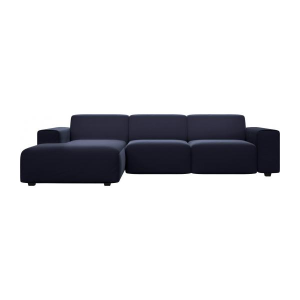 posada 3 sitzer sofa mit chaiselongue links aus samt dunkelblau habitat. Black Bedroom Furniture Sets. Home Design Ideas