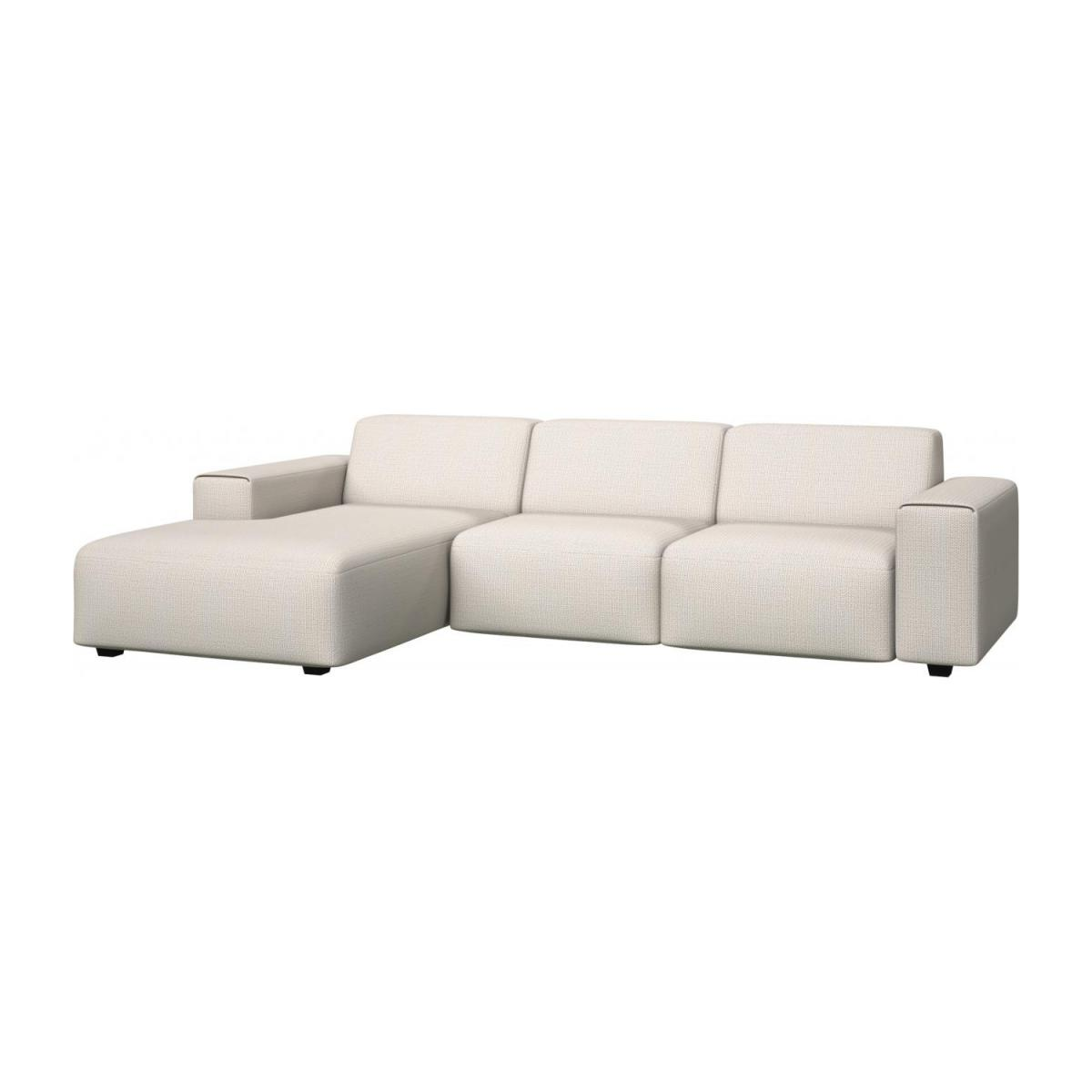 3 seater sofa with chaise longue on the left in Fasoli fabric, snow white n°1