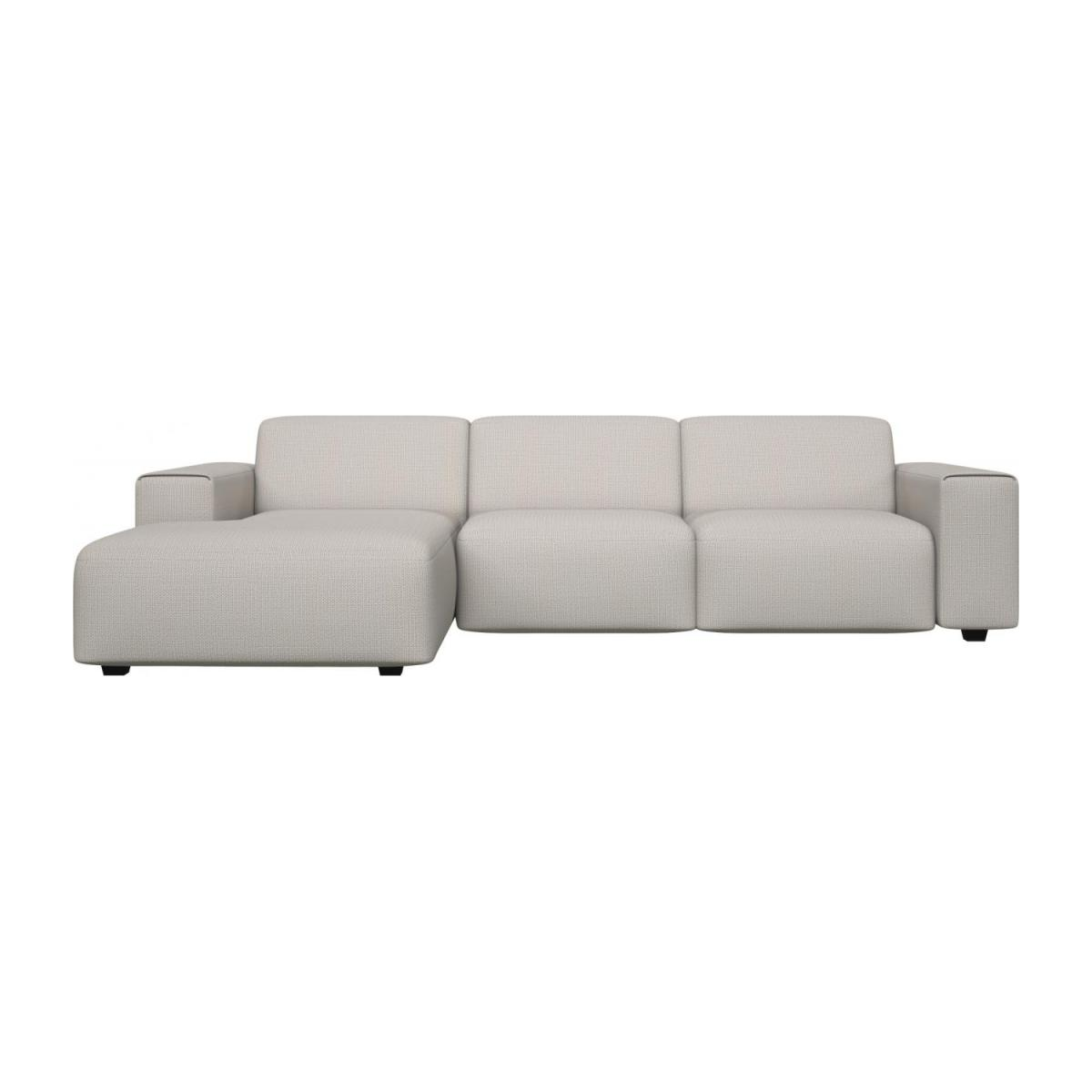 3 seater sofa with chaise longue on the left in Fasoli fabric, snow white n°3