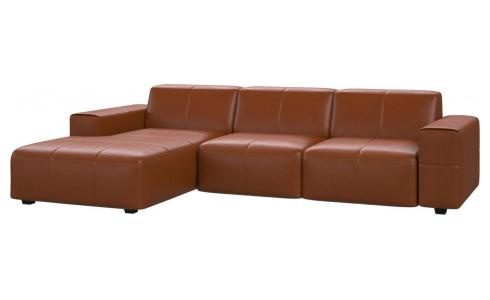 3-Sitzer Sofa mit Chaiselongue links aus Anilinleder Vintage Leather old chestnut