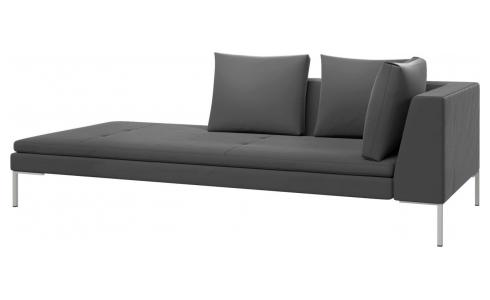 Left chaise longue in Super Velvet fabric, silver grey