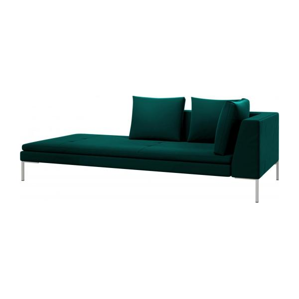 Left chaise longue in Super Velvet fabric, petrol blue