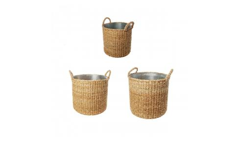 Set of 3 round rattan planters 35/32/28cm