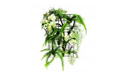 Artificial fern and orchid white and green plant wall 51cm with black frame
