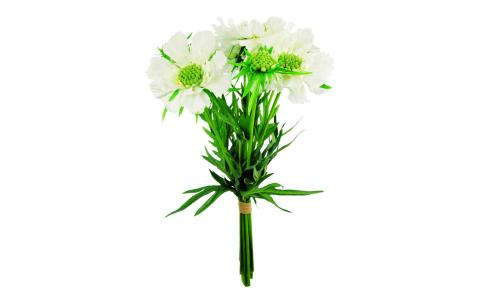 Bouquet artificiel de Scabioses 35.5cm blanches