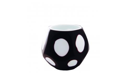 Black and white double-layered carved glass tealight candle holder 9cm