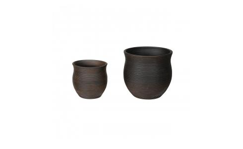 Set of 2 brown striated terracotta  planters 29/38.5cm