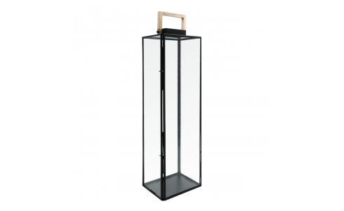 Glass and black metal lantern 80cm