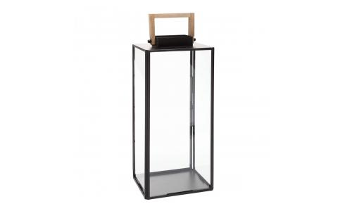 Glass and black metal lantern 55cm