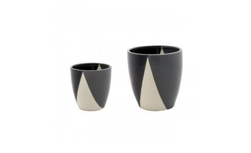 Set of 2 black and grey ceramic planters 20/14.5cm