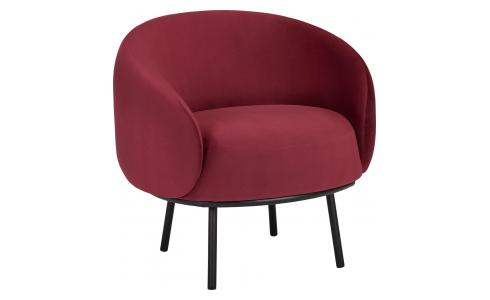 Fauteuil Carbriolet en velours - Lie-de-vin  - Design by Adrien Carvès