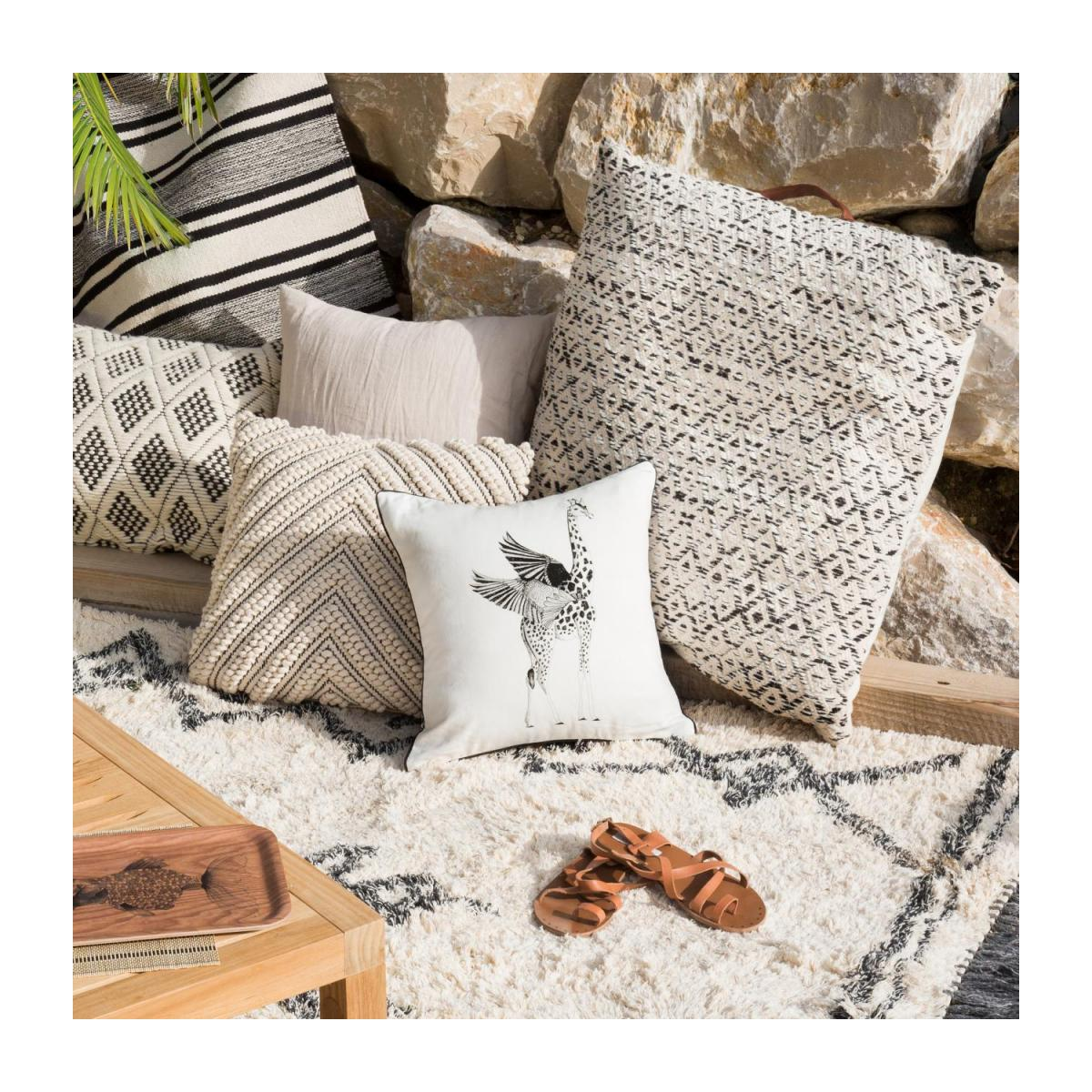 Cotton Floor Cushion 75x75cm Black and White  n°5