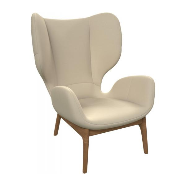 Armchair in Eton veined leather, cream n°1