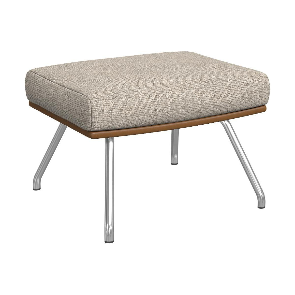Footstool in Ancio fabric, nature et cuir marron with matt metal legs n°1