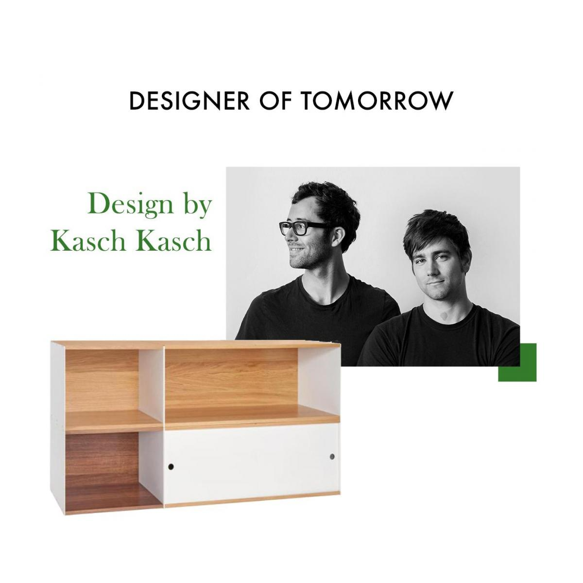 White and oak big closed modular storage rack - Design by Kasch Kasch n°10