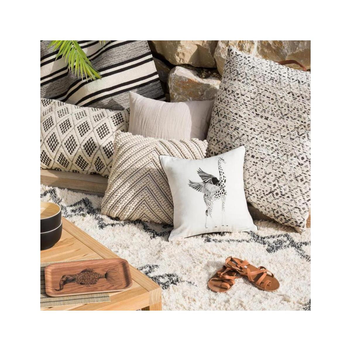 Squirrel Patterned Printed Cotton Cushion 40x40cm n°4