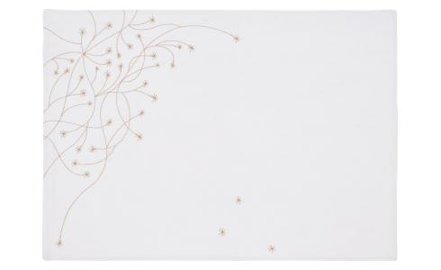 Embroidered placemat made of cotton, white and golden