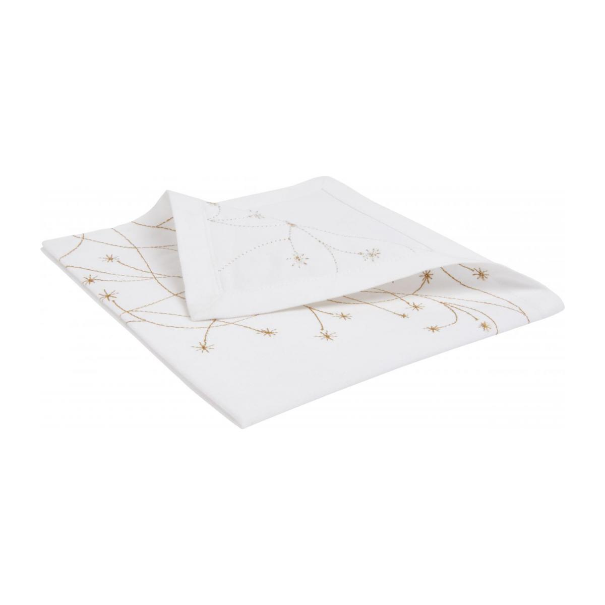 Embroidered napkin made of cotton, white and golden n°2