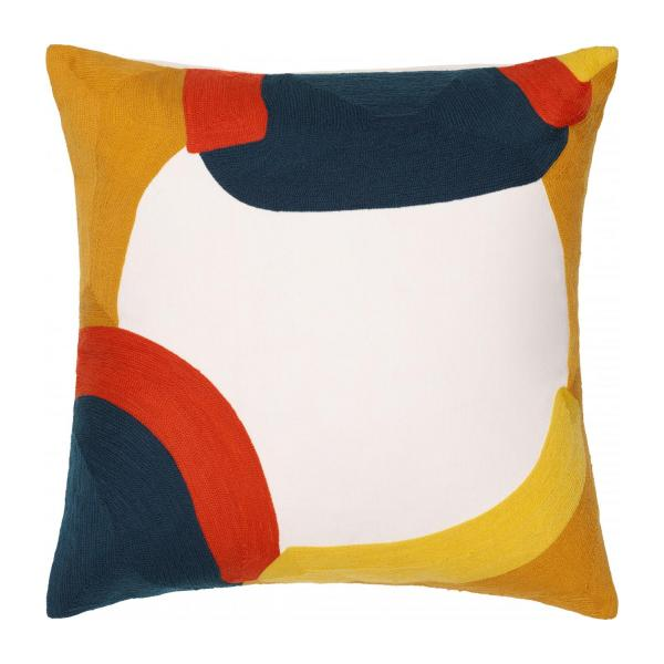 Coussin 45 x 45 cm - Brodé - Moutarde - design by Sarah Corynen n°1