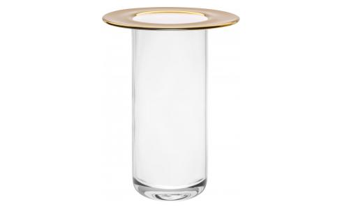 Vase cylindre - Bord or - Verre