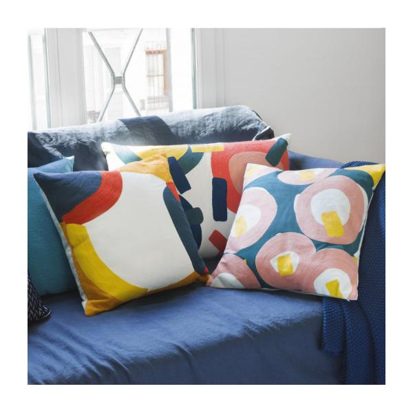 Coussin 45 x 45 cm - Brodé - Moutarde - design by Sarah Corynen n°4