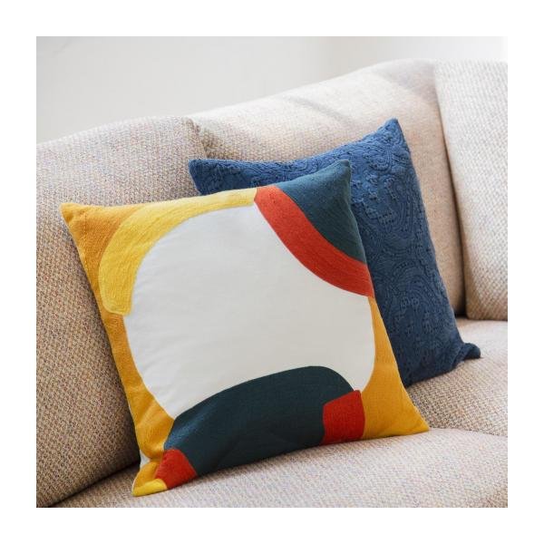 Coussin 45 x 45 cm - Brodé - Moutarde - design by Sarah Corynen n°5