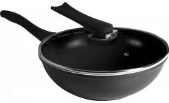 Black wok with lid 28cm