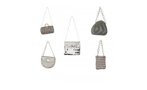 Set de 5 bolsos decorativos en metal gris
