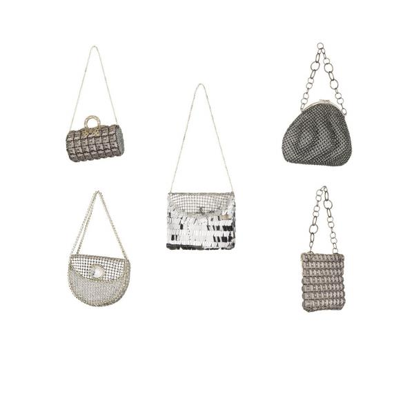 Ornements sacs en métal gris (lot de 5)