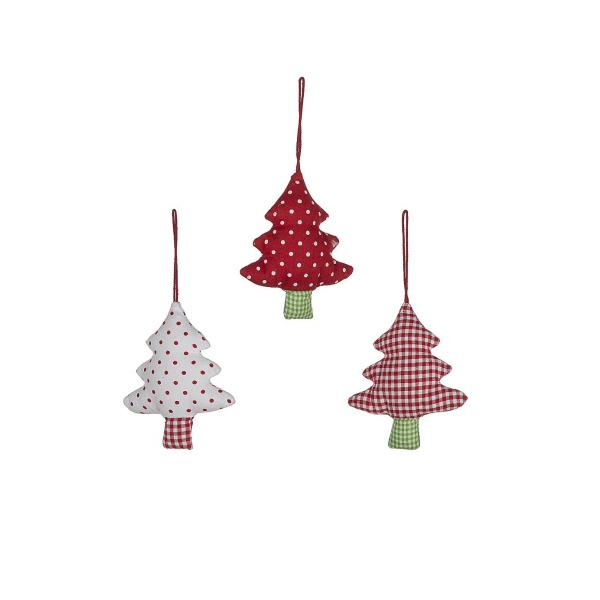 Ornements sapin 12 cm en coton rouge et blanc (lot de 3)