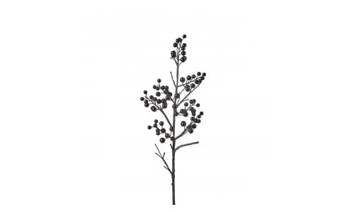 Black lacquered artificial berries on a stem 69cm