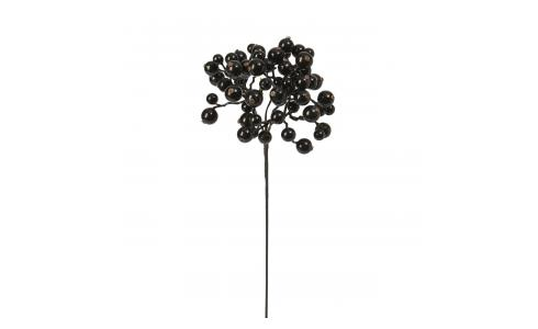 Black lacquered artificial berries on a stem 33cm