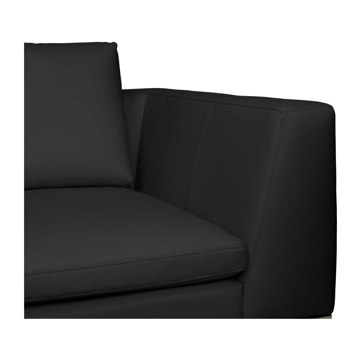 2 seater sofa in Eton veined leather, black n°8
