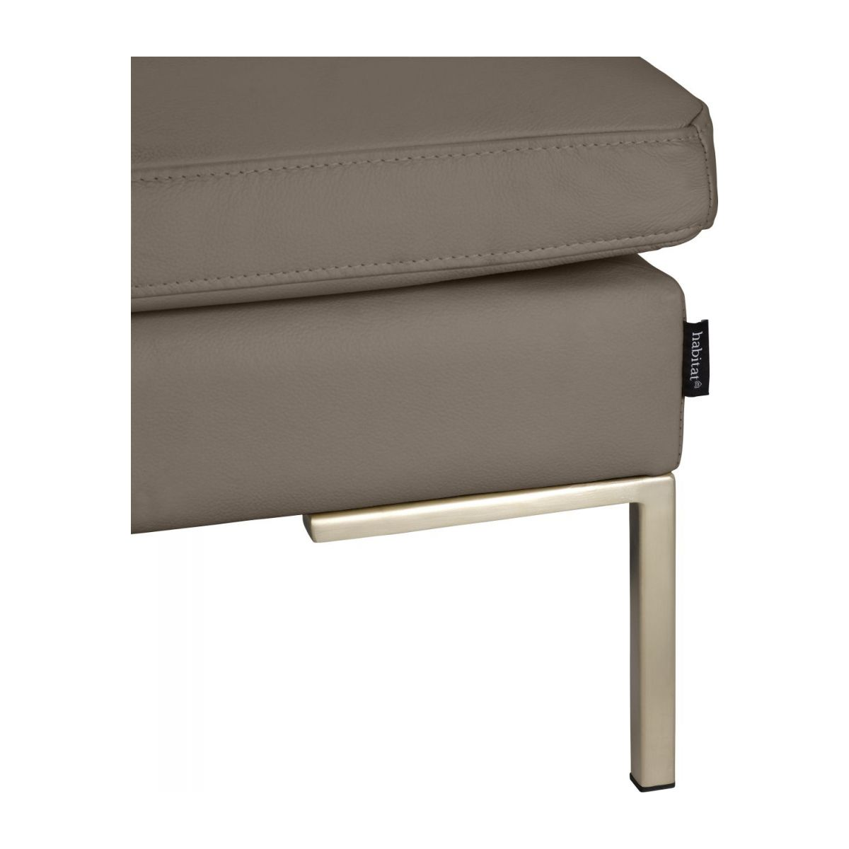 Footstool in Eton veined leather, stone n°5