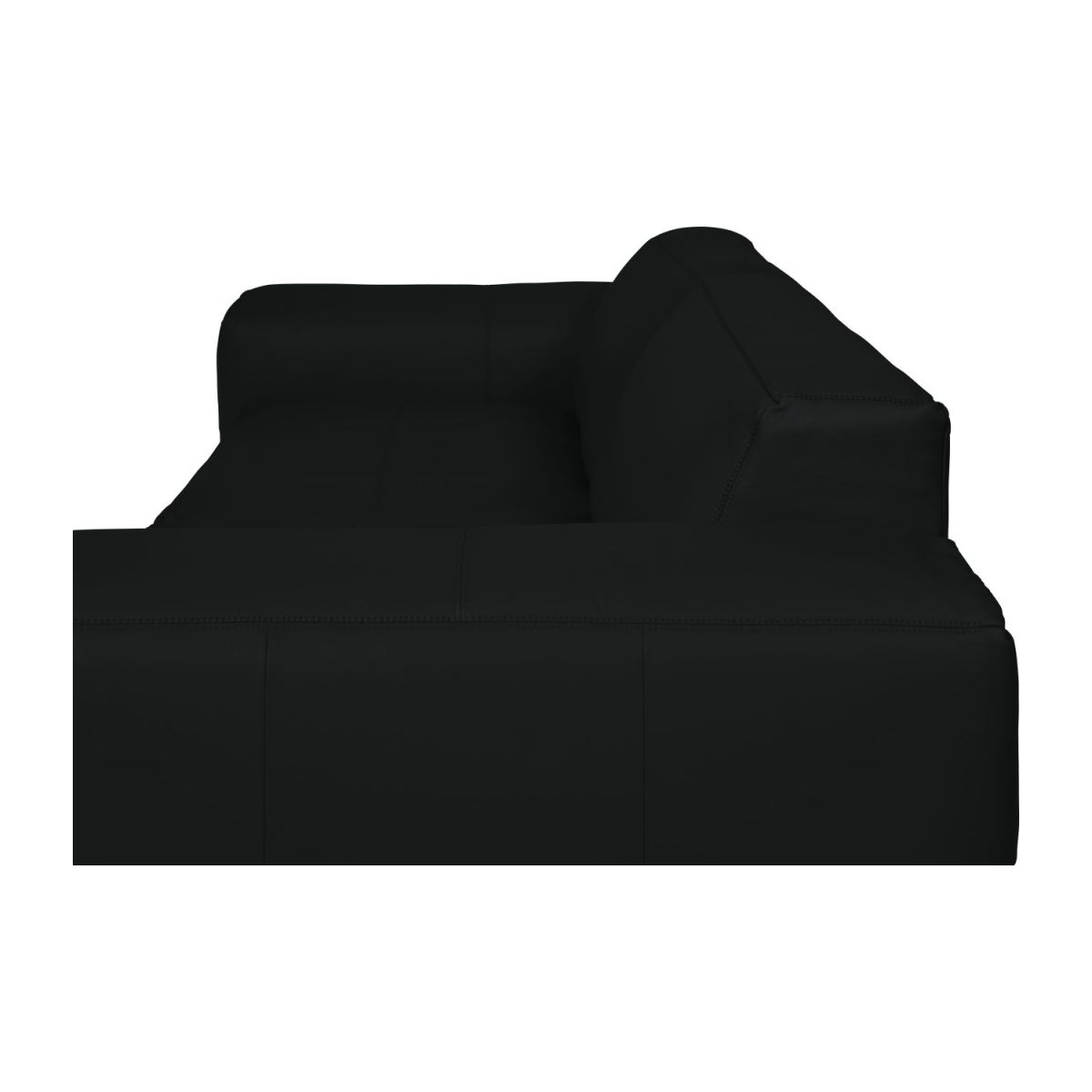 4 seater sofa in Savoy semi-aniline leather, platin black n°11
