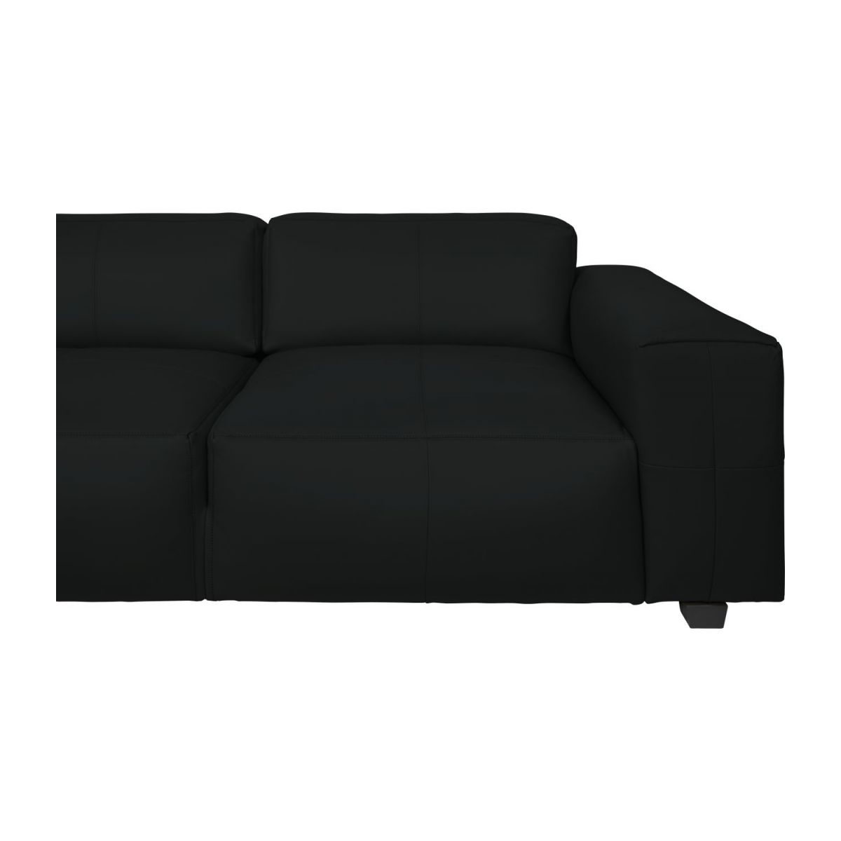 4 seater sofa in Savoy semi-aniline leather, platin black n°8