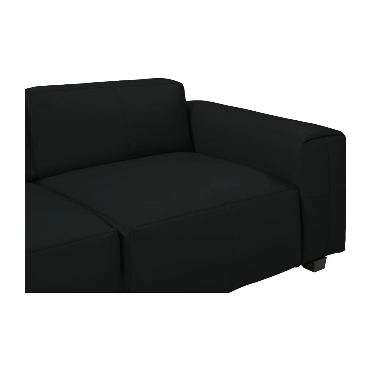 4 seater sofa in Savoy semi-aniline leather, platin black n°7