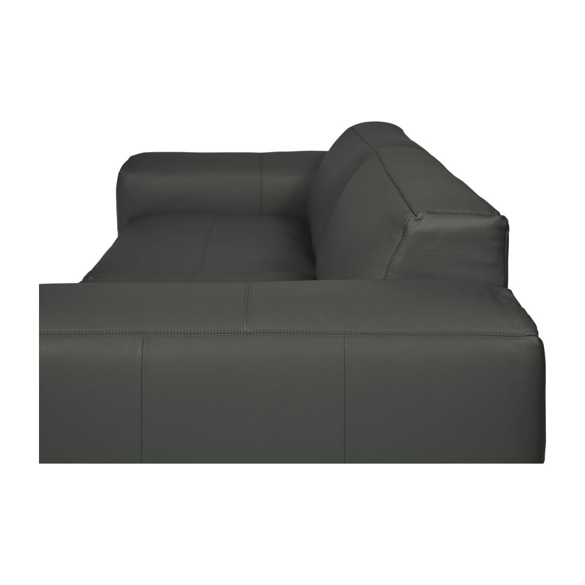 4 seater sofa in Savoy semi-aniline leather, grey n°10