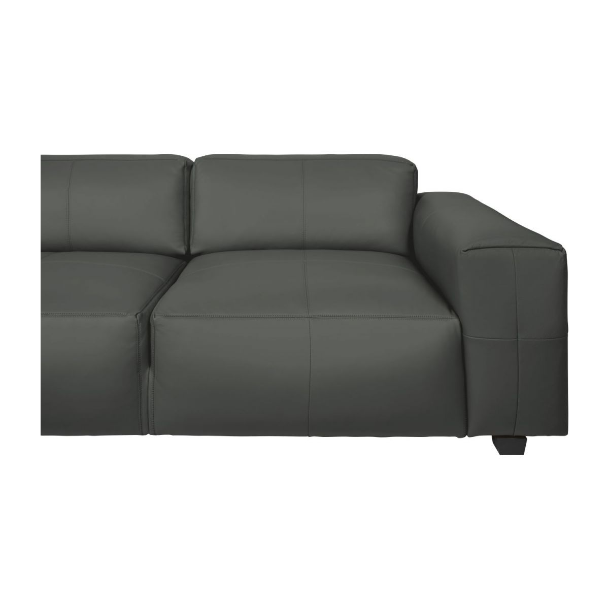 4 seater sofa in Savoy semi-aniline leather, grey n°7