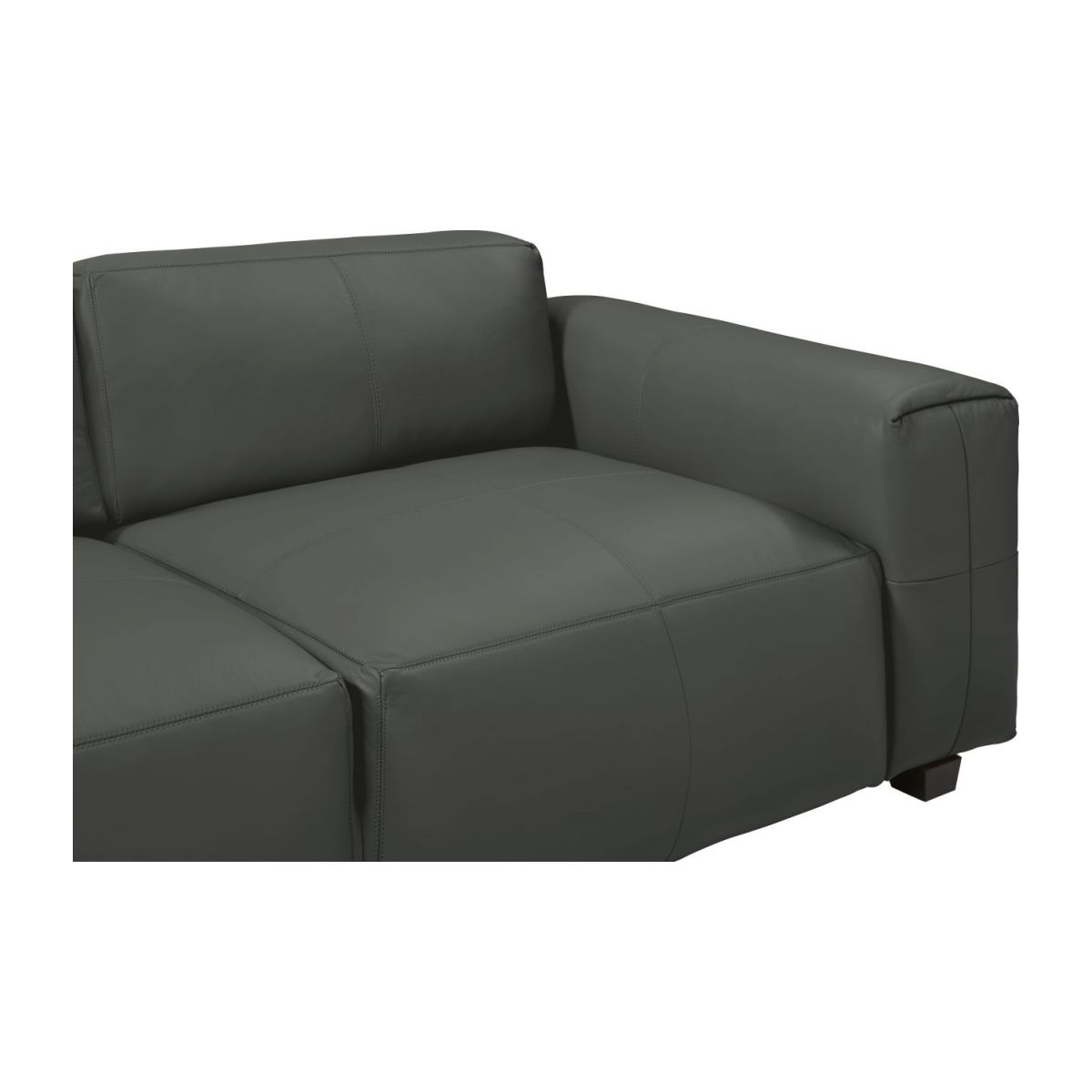 2 seater sofa in Savoy semi-aniline leather, grey n°7
