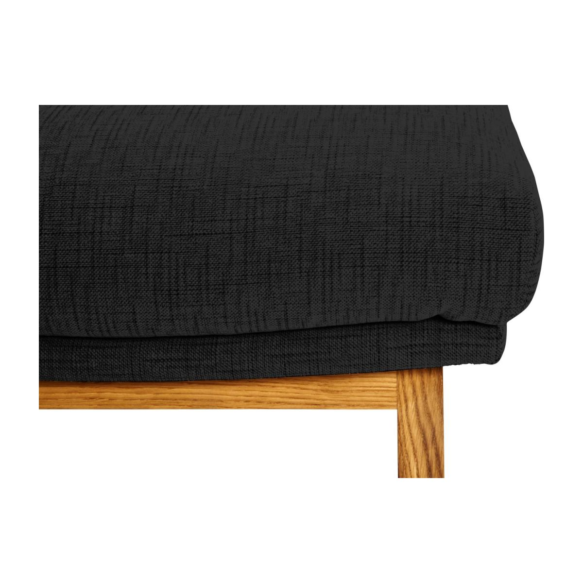 Footstool in Ancio fabric, nero with oak legs n°6