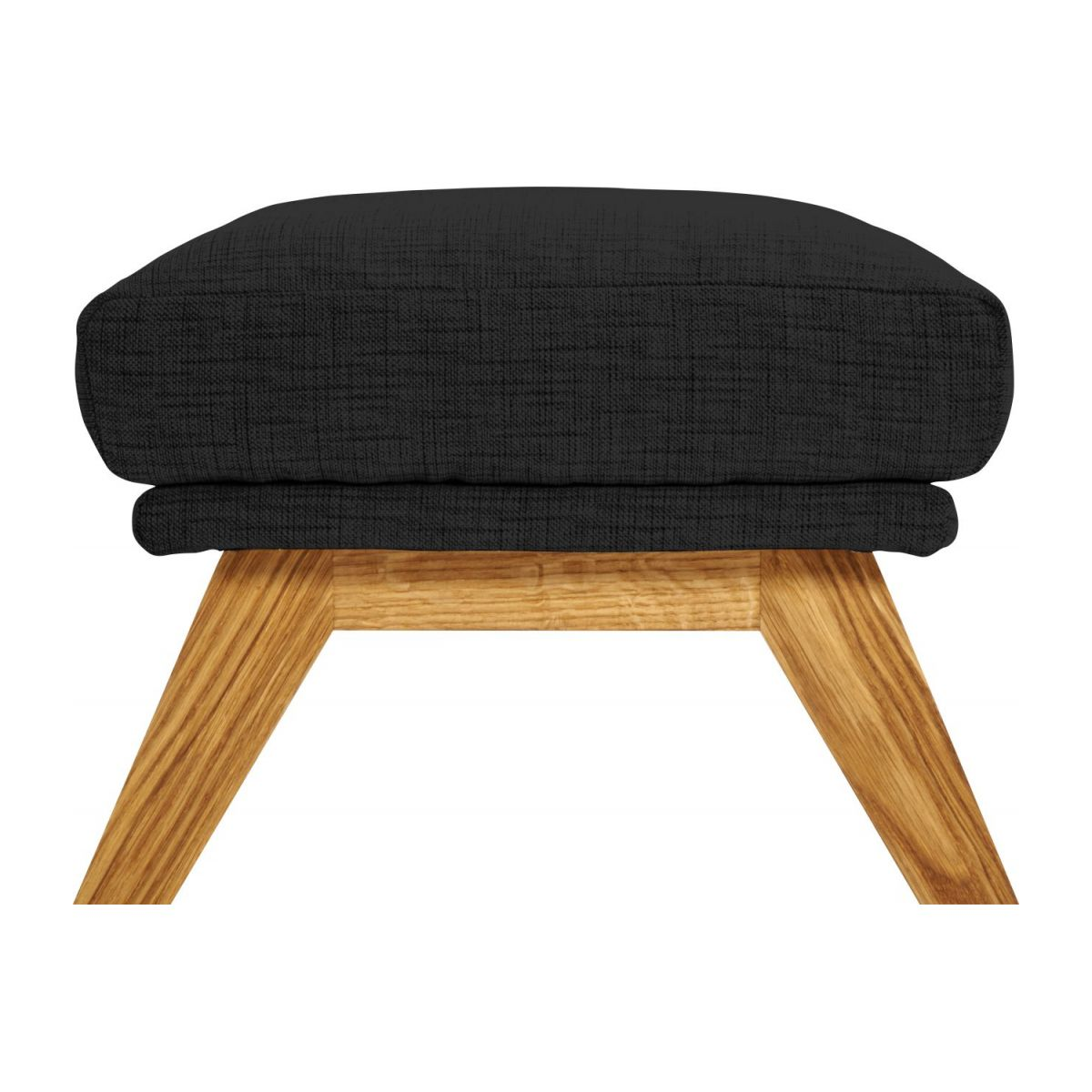 Footstool in Ancio fabric, nero with oak legs n°5