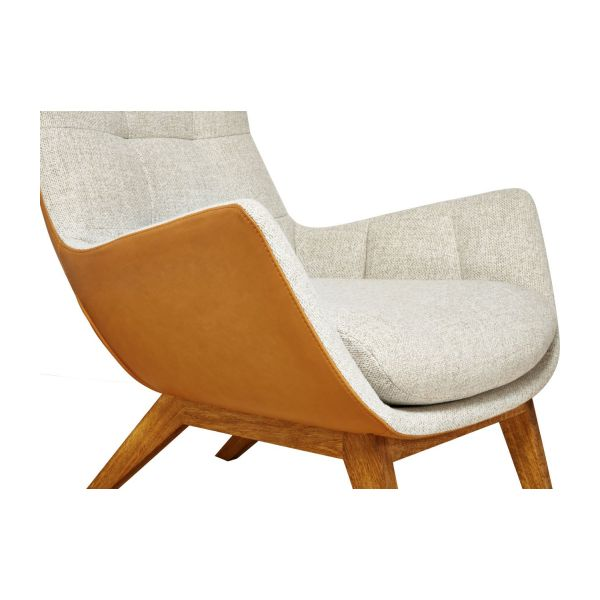 Armchair made of fabric, beige marl and brown leather oak legs n°5