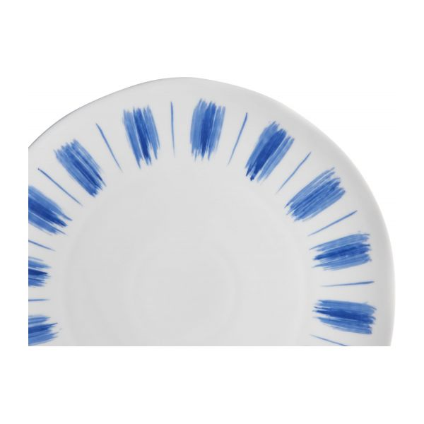 Flat plate made of porcelain, white and blue n°5