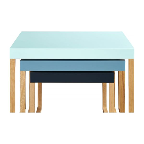 Stackable accent tables in oak and steel, blue n°8