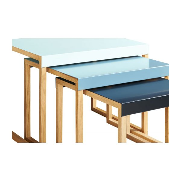 Stackable accent tables in oak and steel, blue n°7