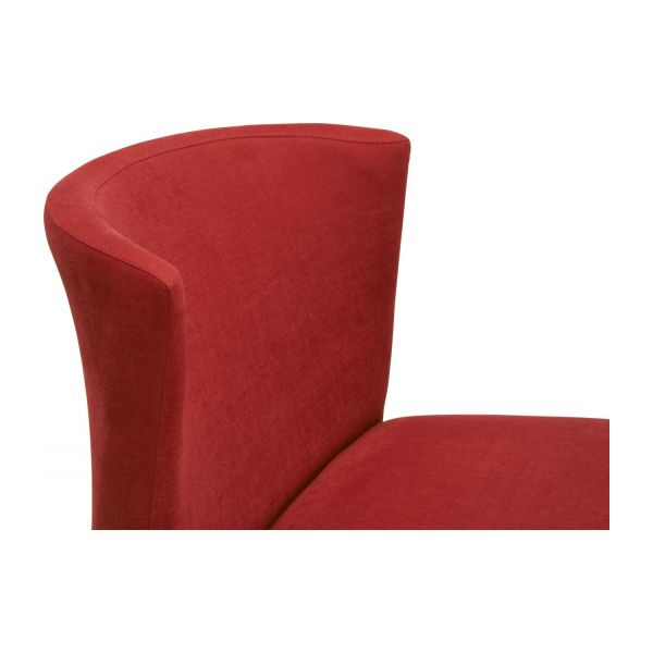 Dining room chair in fabric, red and oak n°6