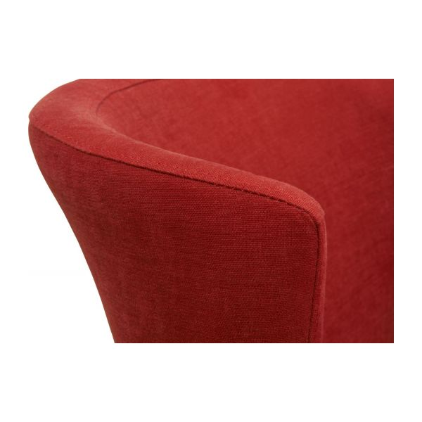 Dining room chair in fabric, red and oak n°5