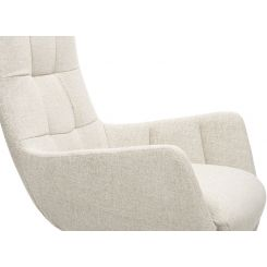 Armchair in Lecce fabric, nature with metal cross leg
